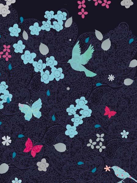 Kleine Blumen und Vögelchen auf einem schwarzen Paisley Background
