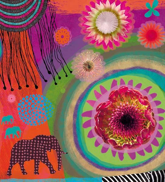 Afrikanische Blumen, Elefanten und bunte Kreise.