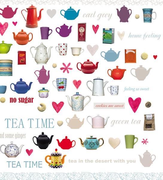 Bunte Becher, Tassen und Teekannen