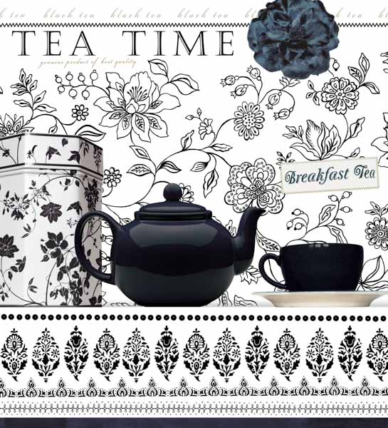 Schwarze Teekanne, schwarze Teetasse, schwarze Blume, schwarz-weißes Ornament