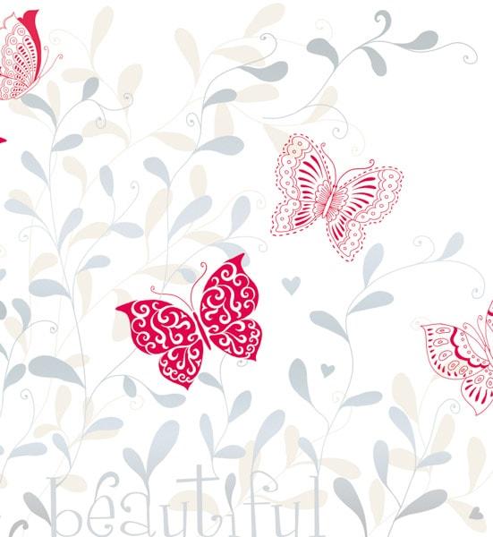 Rote Schmetterlinge und silberne Pflanzen