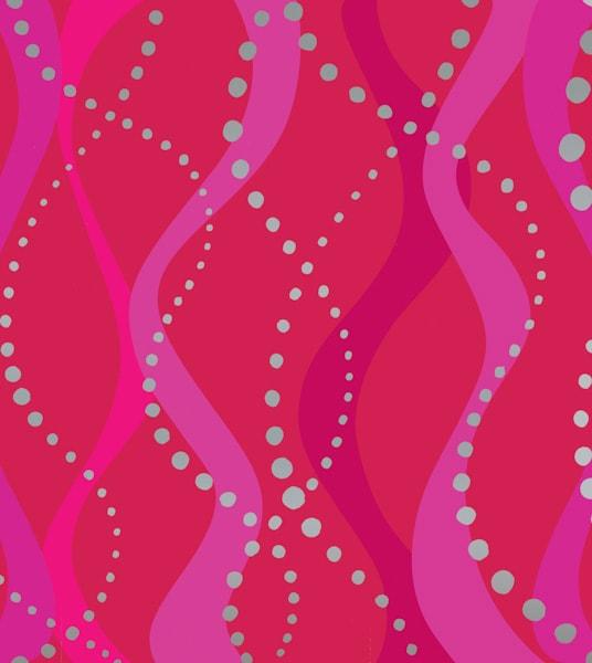 Rot-pinker Muster mit Wellen und Punkten