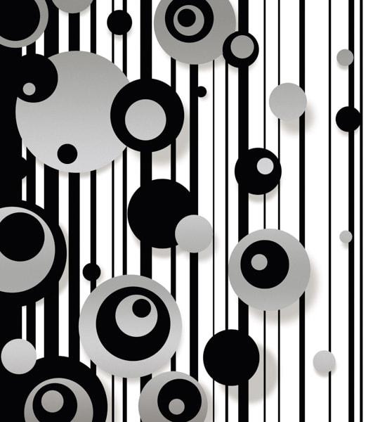 Schwarz-weiße Streifen und silber-schwarze Kreise
