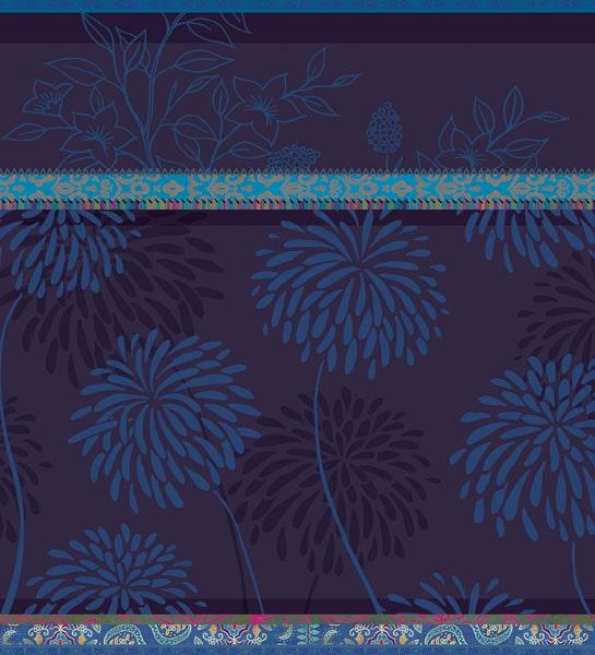 Blaue blumige Formen mit blauen Ornamenten