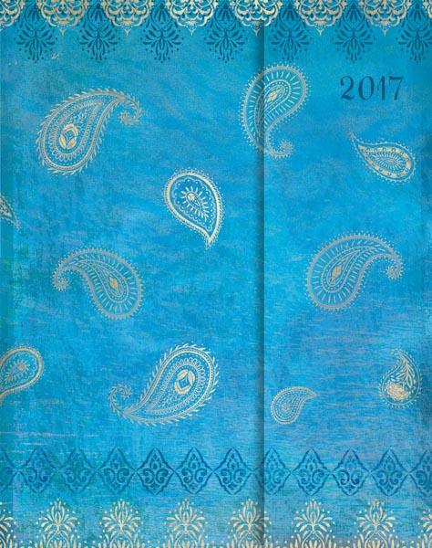 Goldener Paisleymuster auf einem blauen Hintergrund