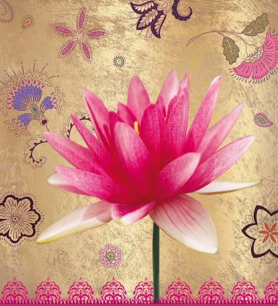 Eine pinke Lotosblüte auf goldenem Hintergrund