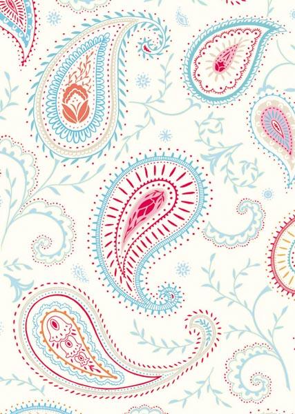 Rot-blaues Paisley-Design auf weißem Hintergrund