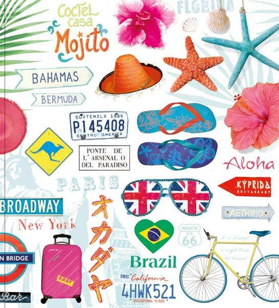 Sonnenbrille, Badelatschen, Fahrrad, Muscheln, Seesterne, Reisekoffer, Sombrero, Sonnenhut, Palmblatt, exotische Blumen, Broadway, Bermuda