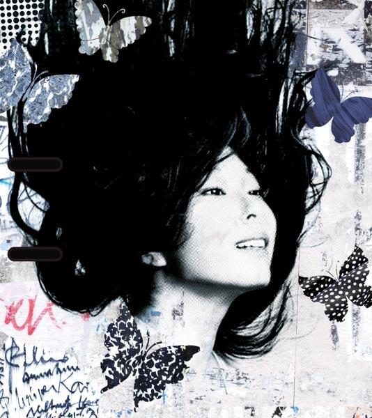 Gesicht, Frau, Schmetterlinge, schwarz-weiß, vintage
