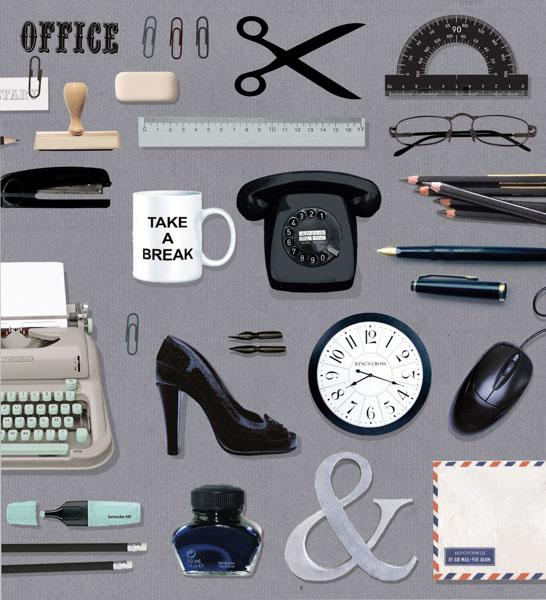 Stempel, Schreibmaschine, Uhr, Lackschuh, Telefon, Brille, Lineal, Becher, Bleistifte, Büroklammer, Radiergummi, Schere, Computermaus, Briefumschlag, Office, Tinte,