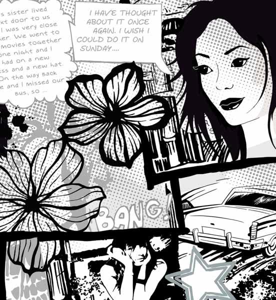 Comic in schwarz-weiß mit einem Mädchen, Auto und Blumen
