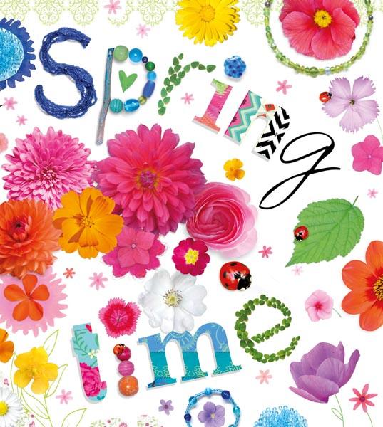 Bunte Blumen und ein Schriftzug Spring time