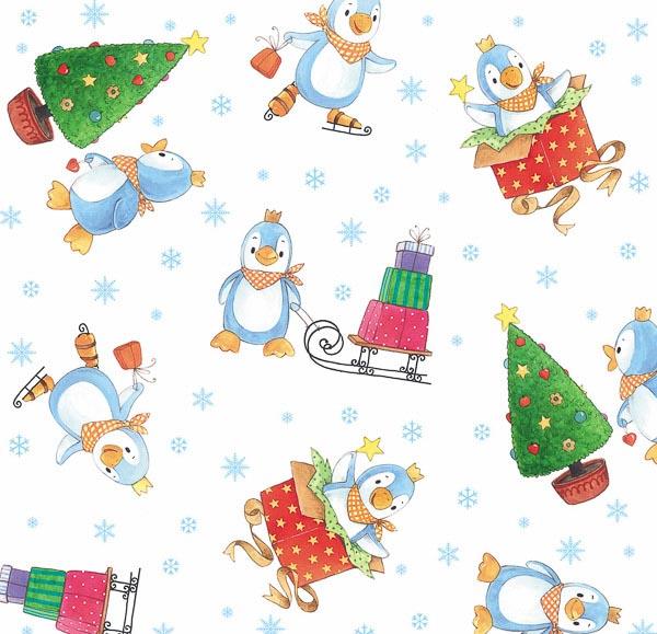 Weihnachtsbäume, Pinguine, Geschenke, Schneeflocken