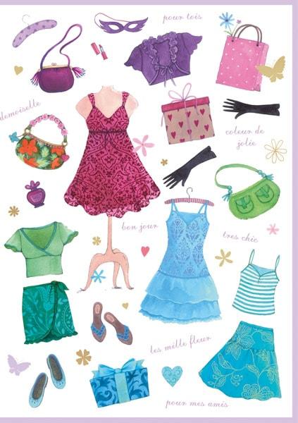 Bunte Kleider, Taschen, Blusen, Handschuhe, Schuhe, Röcke,