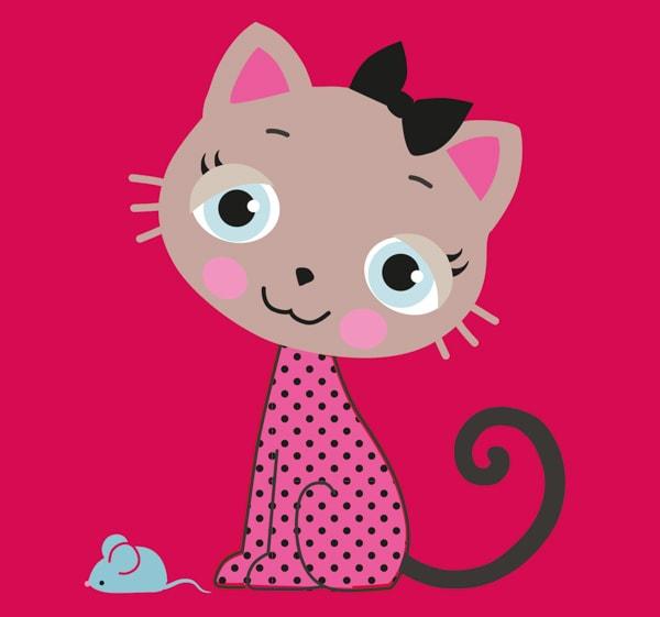 Eine süße Katze und eine kleine Maus
