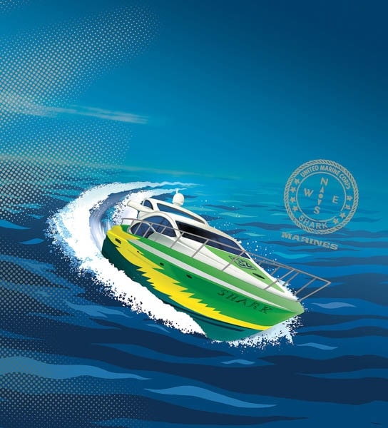 Shark - ein Motorboot auf dem Meer. Illustration