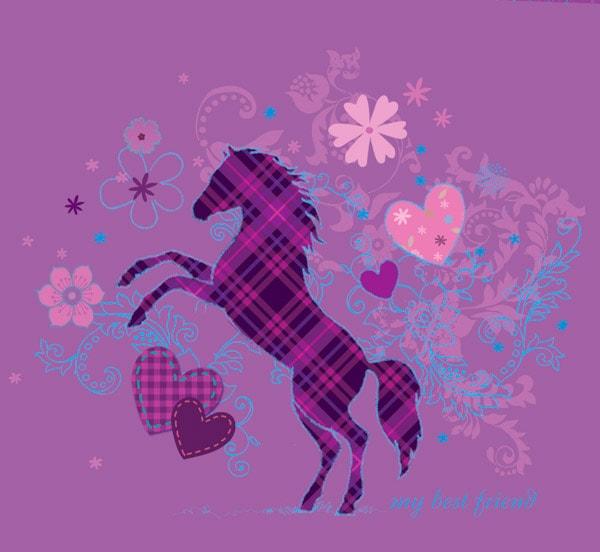 Ein Pferd, Herzen, Blumen und Ornamente