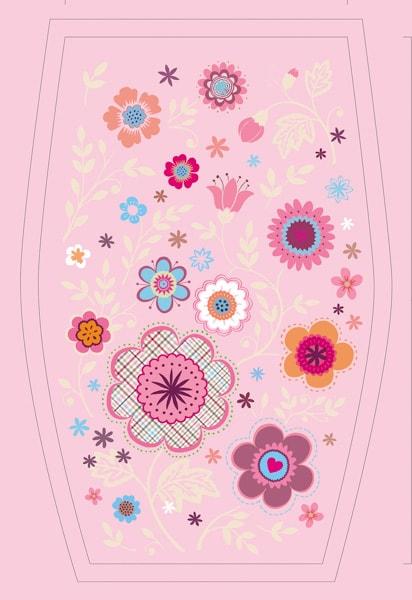 Design mit einem Blumenmotiv für einen Schulranzen
