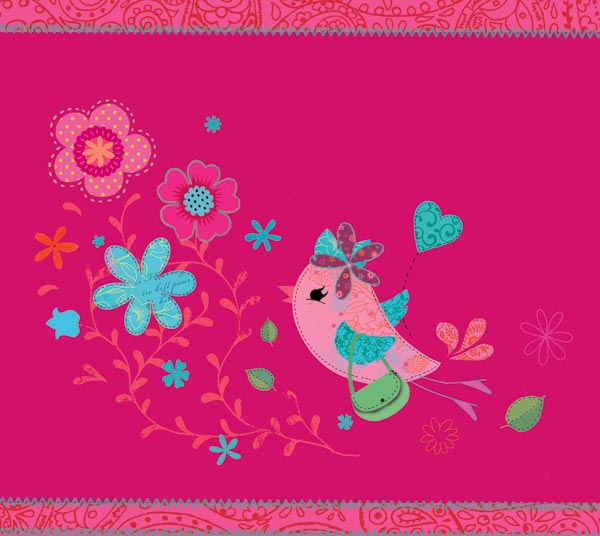 Ein kleines Vögelchen und Blumen