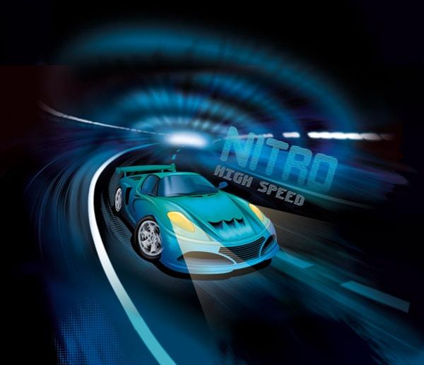 Ein blaues Auto in einem Tunnel