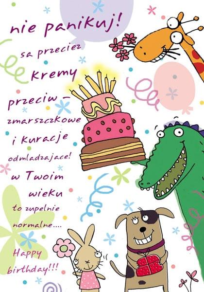 Eine Happy Birthday Grußkarte mit lustigen Tieren