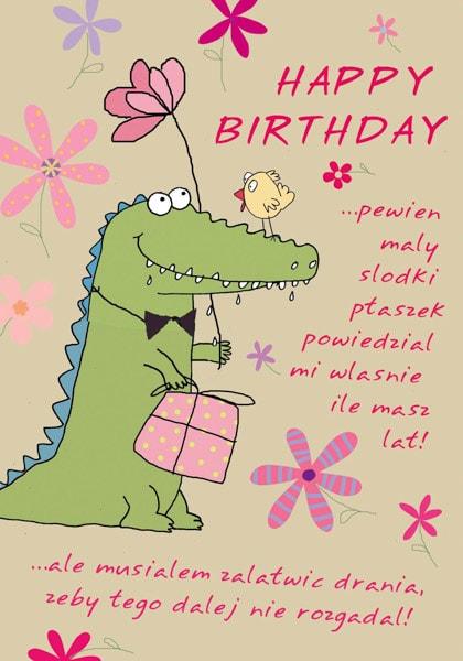 Eine Happy Birthday Grußkarte mit einem Krokodil
