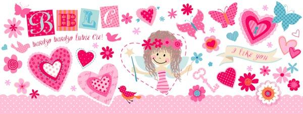 Ein kleines Mädchen, pinke-rote Blumen und Schmetterlinge