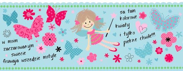 Ein kleines Mädchen, bunte Blumen und Schmetterlinge