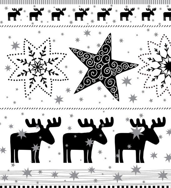 Schwarze Rentiere und Weihnachtssterne