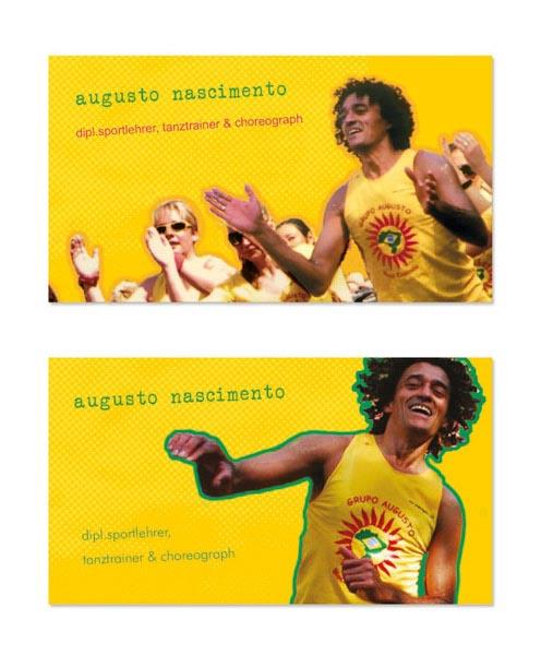 Eine gelb-grüne Visitenkarte für einen Sportlehrer