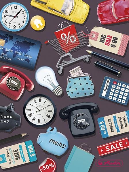 Telefon, Uhr, Glühbirne, Kreditkarte, Einkaufskorb, Bleistift, Kalkulator, Auto, Einkautstüte, Preisschild, Geld, Portemonnaie