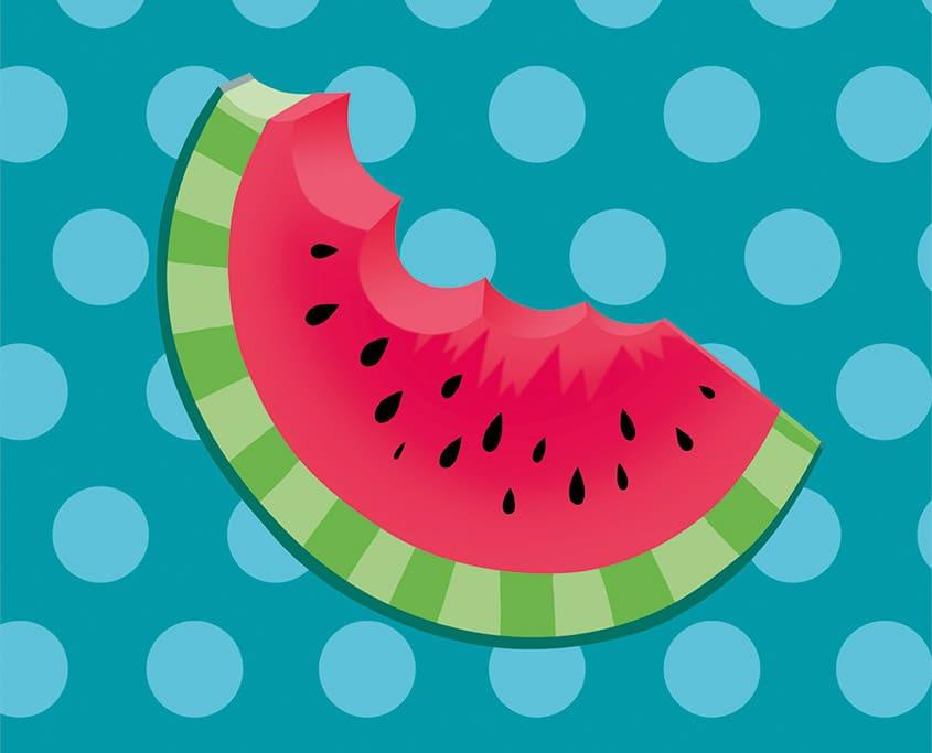 Ein Stück Wassermelone auf dem gepunkteten Hintergrund