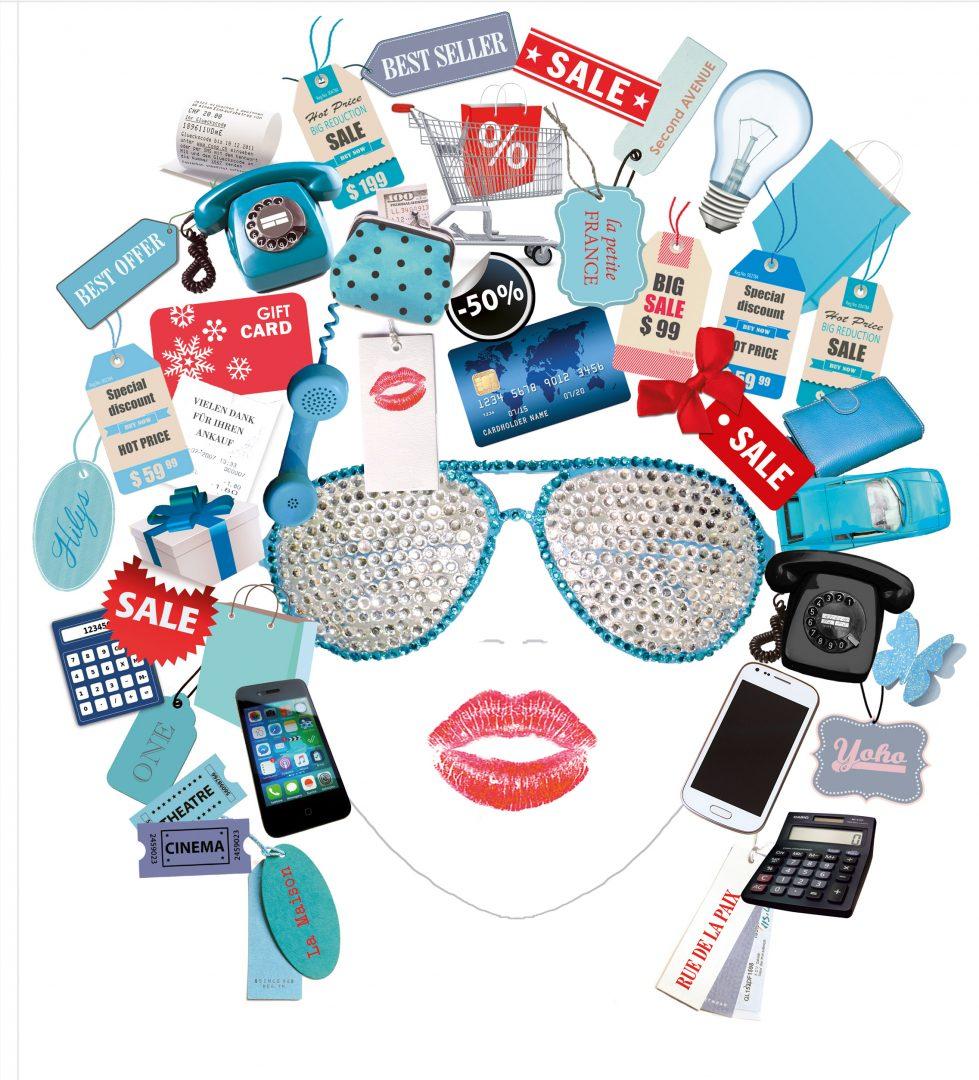 Telefon, Uhr, Glühbirne, Kreditkarte, Einkaufskorb, Bleistift, Kalkulator, Auto, Einkautstüte, Preisschild, Geld, Portemonnaie, Sonnenbrille, Lippen