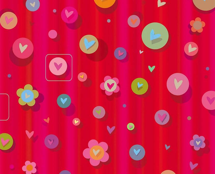 Rote Kreise und Blumen mit Herzchen
