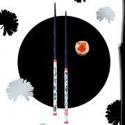 Zwei Reisstäbchen, Sushi, schwarzer Kreis