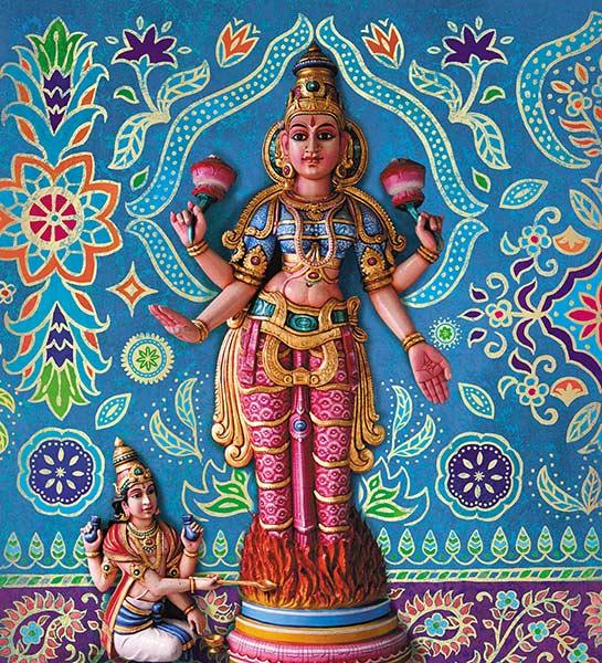 Krishna und bunte Ornamente