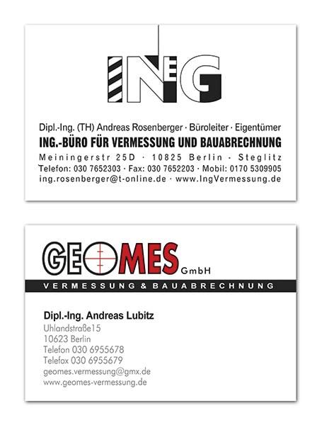 Visitenkarten für ein Vermessungs- & Bauabrechnungsbüro