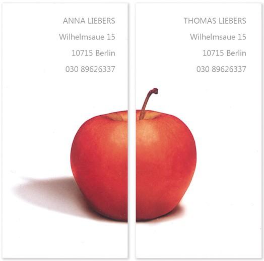 Visitenkarten mit einem Apfel